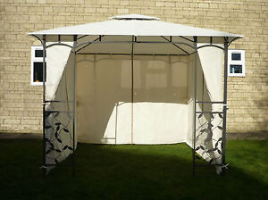 CURTAINS ONLY for Homebase Lucca 3m Patio Gazebo (Side Panels/Walls) - Set of 4