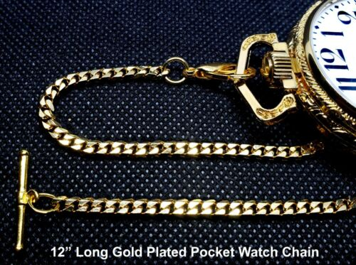 Gold Plated Custom Made T-Bar End Pocket Watch Chain