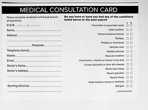 SALON - THERAPIST CLIENT MEDICAL CONSULTATION RECORD CARDS (50 pack)