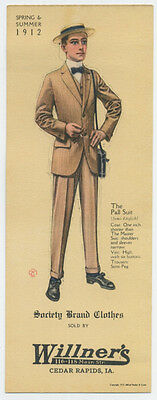 1912 men's suit pictured on trade card for store in Cedar Rapids, (Stores In Cedar Rapids)