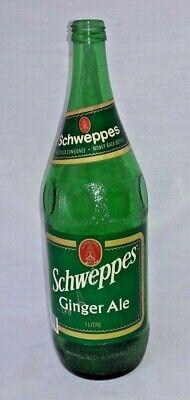 Schweppes Ginger Ale - Schweppes Ginger Ale Soda Bottle Pop Coca Cola Green Glass Vtg 1 Litre Label
