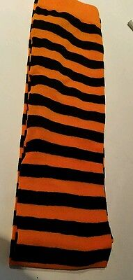 Womens No Brand Name Orange & Black Nylon Striped Halloween Tights Size M/L NWOT - Halloween Orange Striped Tights