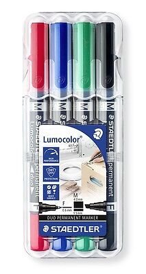 Staedtler Lumocolor Duo Double Ended Permanent Markers - Wallet of 4 (348 B WP4)