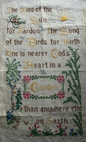 "Vintage Sampler ""Garden"" Birds Flowers Embroidery Needlepoint Completed Finished"