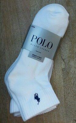 Polo Ralph Lauren 4-Pair Athletic Ankle Crew Socks White Blue Pony NEW