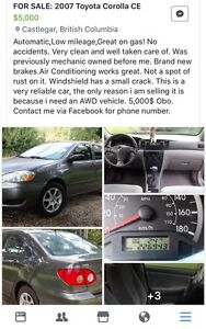 07 Toyota Corolla CE located in Castlegar *price lowered