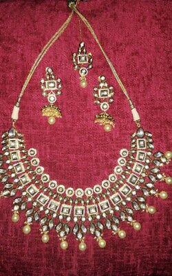 Indian Bollywood White Kundan Diamond Bridal Fashion Jewelry Women Necklace set