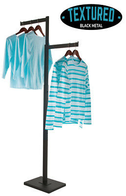 2-way Clothing Display Rack - Straight Arms Textured Black Finish