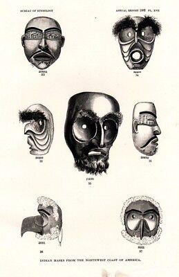 Antique Art print 1884 Ethnology Mask Dancing Haida Indian Nutka Makah Shamanic