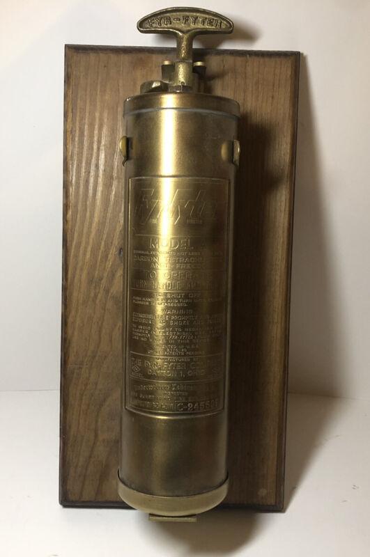 Vintage Collectible Brass Fyr-Fyter Fire Extinguisher. Framed 13 Inches