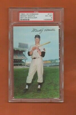 Mickey Mantle Bat on Shoulder #111 - 1953-55 Dormand - Graded PSA 6 Ex/Mint