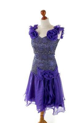 Vintage Tanzkleid lila Brokat 80er COCKTAIL WEISE Rüschen Chiffon Kleid 38