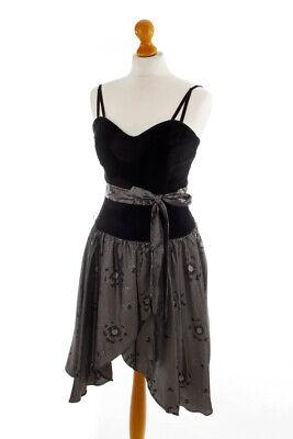 Vintage Partykleid Cocktailkleid schwarz Samt Taft Glitzer CM 34 online kaufen