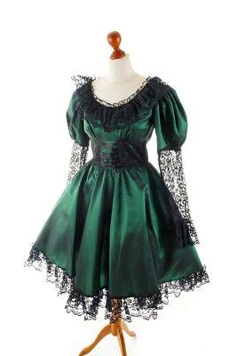 Vintage Cocktailkleid Tanzkleid grün Taft üppig Gothic CAROLINE WALKER 36 38 online kaufen