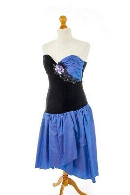 Vintage Abendkleid festlich schwarz blau Taft Samt JAHN&PILL 38