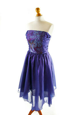 Vintage Partykleid orig 80er lila Metallic Glitzer Brokat SINA KURSCHAT 36 38