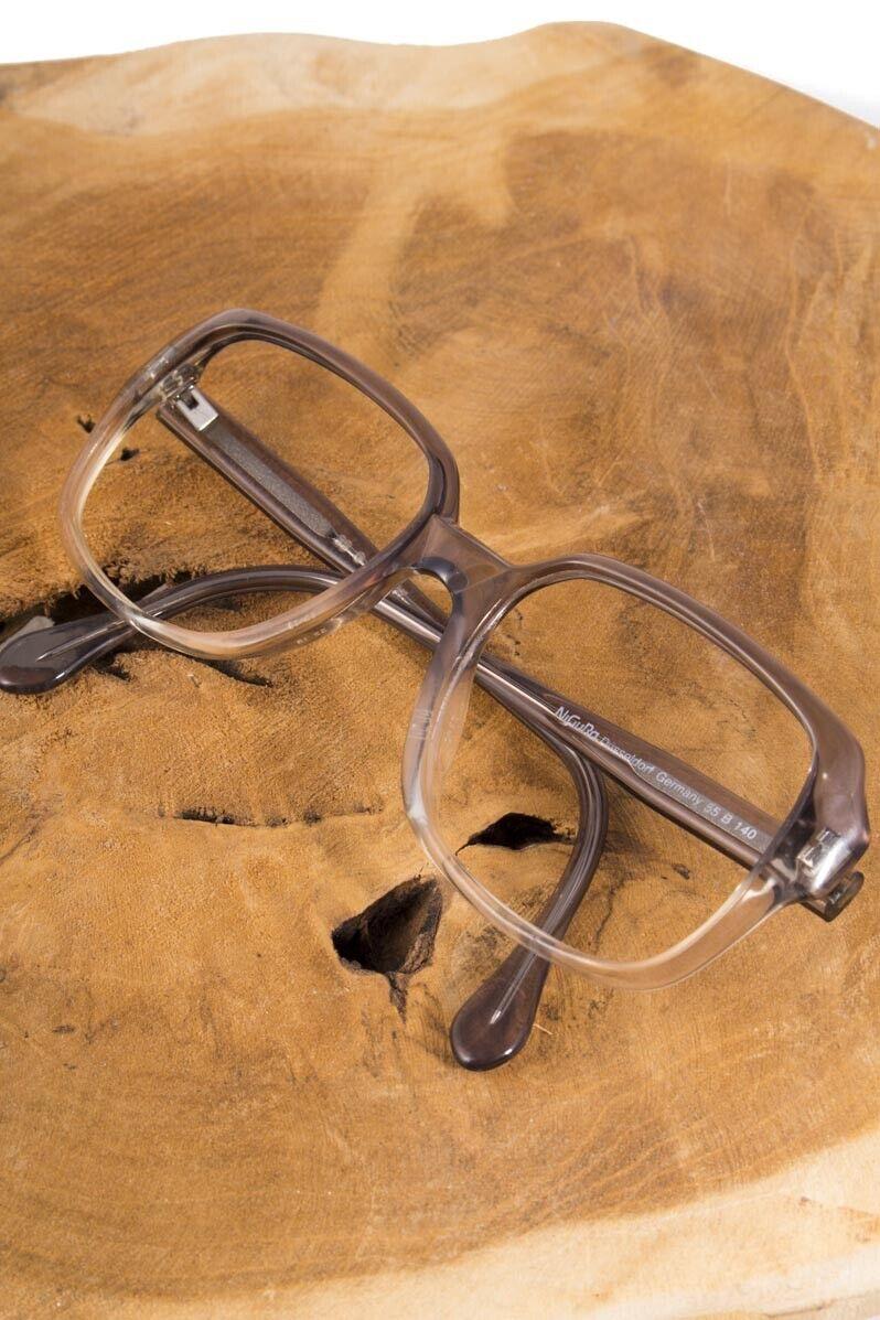 Vintage orig 70er Brille Brillengestell Hornbrille grau Kunststoff Sekretärin