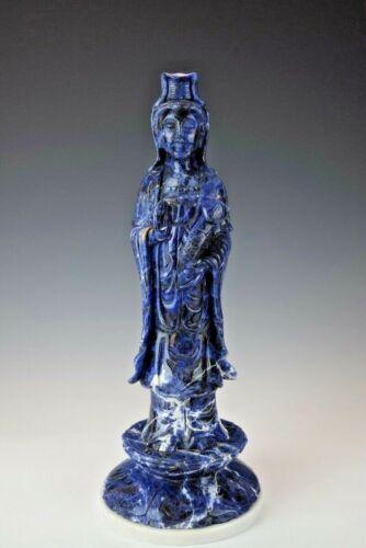 CHINESE GODDESS ~ Guanyin Quanyin Kwanyin  Beautiful  Carved Gem SODALITE