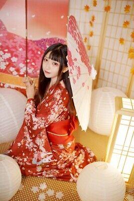 Japanische Kimono Frau Sakura Yukata FullSet Kawaii Kostüm Kleid cosplay Anime - Kimono Japanischen Kostüm