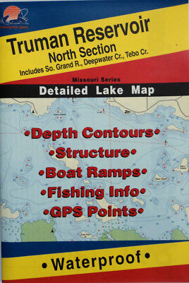 Reservoir Fishing Map - Truman Reservoir North Section Detailed Fishing Map, GPS Points,Waterproof #L163