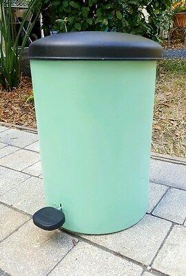 Vintage 1950's SANETTE JADE GREEN Trash Can Foot Pedal Lid w/ plastic liner