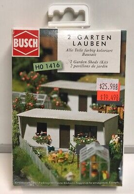 Busch HO Scale 2 Garden Sheds Building Kit #1416 , New