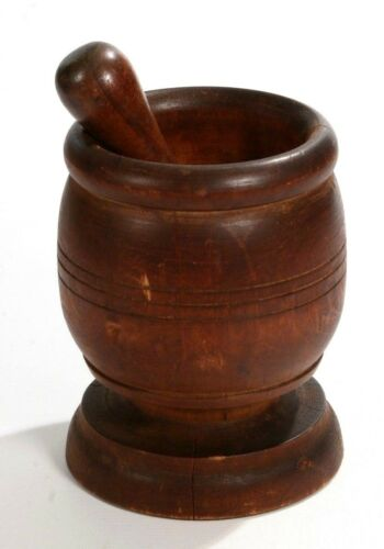 Vintage Mortar & Pestle Wooden Walnut Apothecary Medical RX Mixer 19th Century