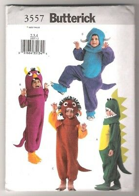 Butterick 3557 - Costumes for Dragon, Monsters, Dinosaur - Kids Sizes 2, 3, 4 - Monster Costumes For Kids