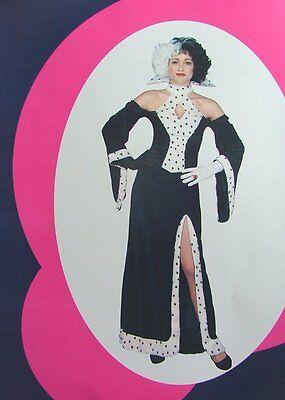 DRESS  AND  WIG & GLOVES DALMATION COSTUME CRUELLA  DEVILLE DEVIL (Cruella Deville Wig And Gloves)
