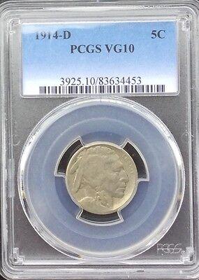 BUFFALO NICKEL 1914  D  PCGS GRADED ORIGINAL COIN VG10