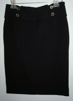 Adrienne Vittadini Black Silver Button Down the Back Pencil Skirt Womans Sz 8 Button Back Pencil Skirt