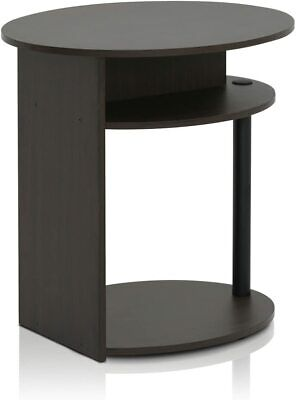 Stylish Wooden Oval End Table with Built-in shelves