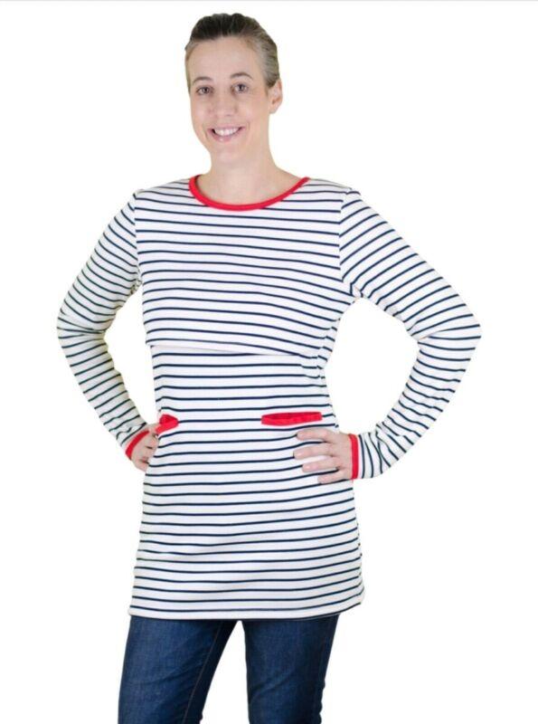 Latched Mama Warm Weather Black/White Striped Nursing Tunic Top Medium