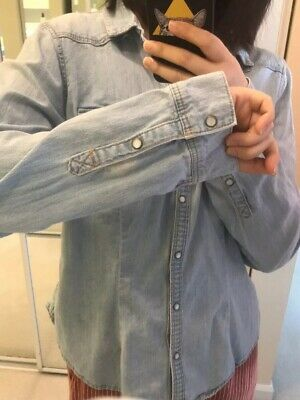 hm denim shirt Light Washed Blue Size M