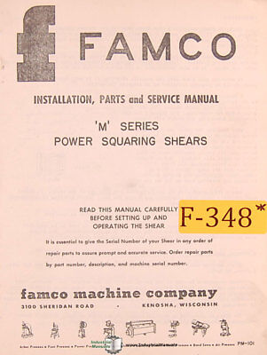 Famco M Series Shear Install Parts And Service Manual