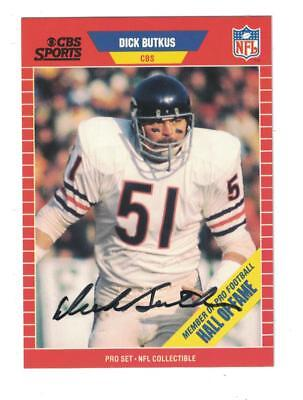 Dick Butkus AUTOGRAPH 1989 PRO SET FOOTBALL CARD SIGNED CHICAGO BEARS