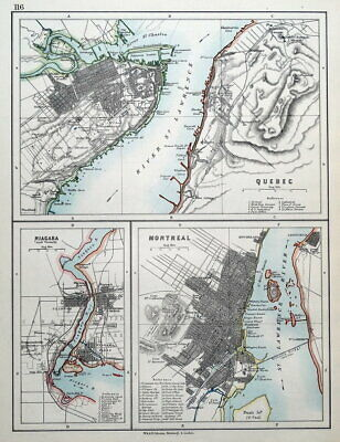 QUEBEC, MONTREAL, NIAGARA, CANADA  Johnston, City Plans antique map c1900