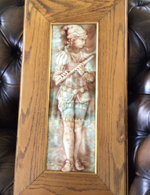 Exceptional 19c TRENT TILE COMPANY Musician Flute Tiles Professional Oak Frame