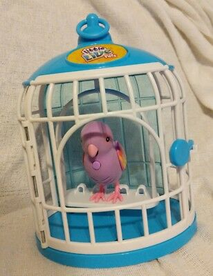 Little Live Pets-Talking pink Bird with blue & white Cage.WORKS.USED.....LOT # 1