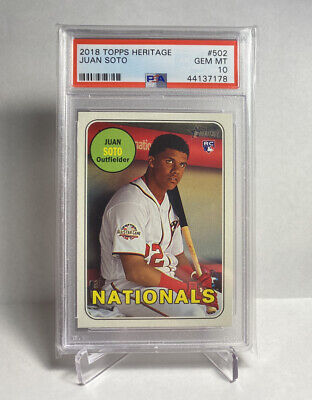 2018 Topps Heritage Juan Soto #502 Rookie RC PSA 10 - Nationals