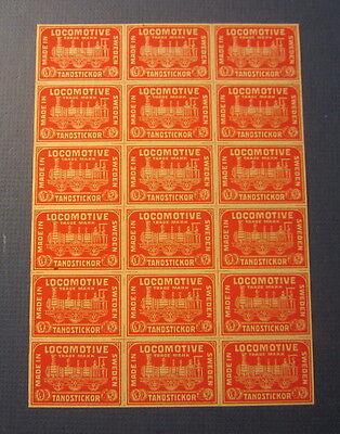 Old Vintage Uncut Sheet of 18 - LOCOMOTIVE Matches - Matchbox LABELS - TRAIN
