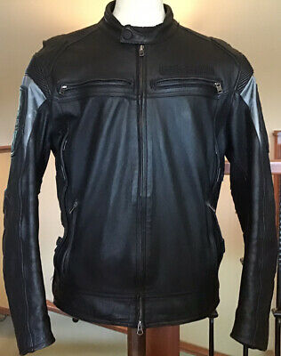 HARLEY DAVIDSON Men's Size XL Reflective Vented Black Heavyweight Leather Jacket
