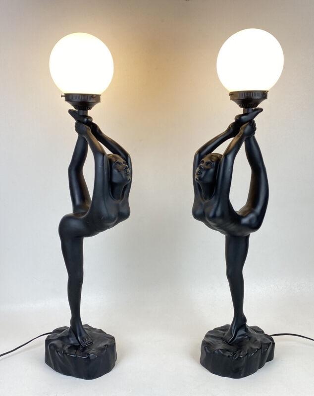 "Pair Vintage Nude Ballerina Lamps 32"" With Globe Art Deco Black Sunrise Mfg Gym"