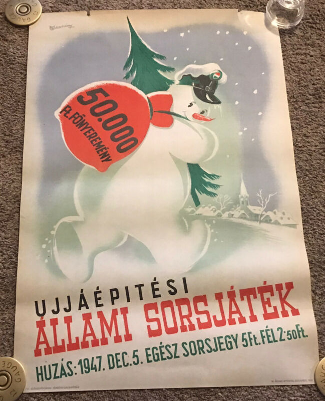 Rare 1947 Hungarian National Lottery Poster, Snowman, Rolled, 23x33