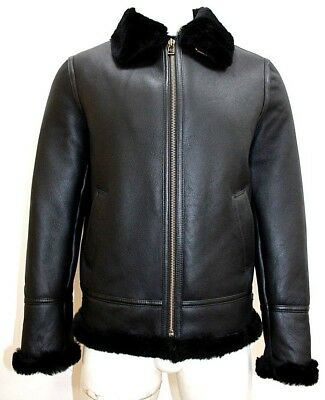 Best Quality Men's RAF B3 Black Real Shearling Sheepskin Leather Flying