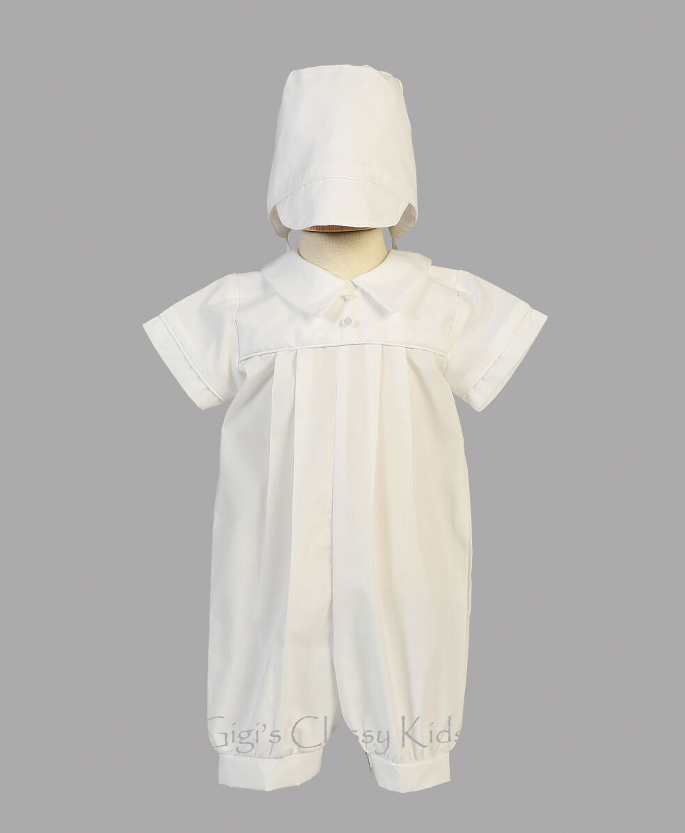 cbf06e9439c9 LITO Baby Boys White Cotton Romper Suit Outfit Set Hat Christening Baptism  New Dylan