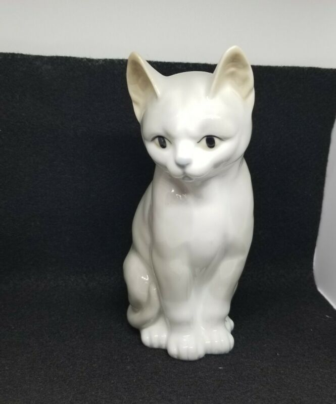 "Otagiri Sitting Gray Cat Kitty 6"" Porcelain Figurine"