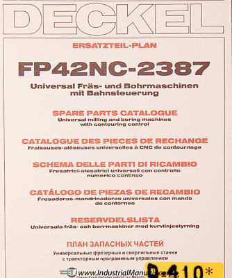 Deckel Fp42nc-2387 Universal Milling And Boring Spare Parts Manual 1984