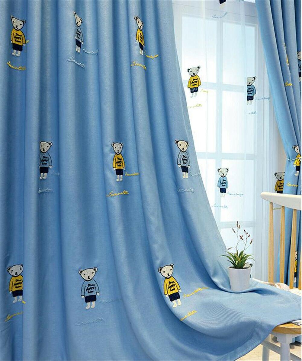 Cute Bear Boy Blackout Curtain for Kids Bedroom Cartoon Shee