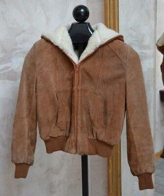 Wilsons Suede Bomber Jacket Hoodie Girls Sz 12 Ultra Warm Faux Wool Lining Coat Girls Faux Suede Jacket